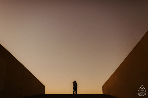 Los Angeles, California Sunset silhouettes for a pre-wed picture