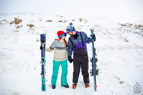 Loveland Pass, Summit County Colorado couple hit the slopes for their skiing engagement session in Colorado