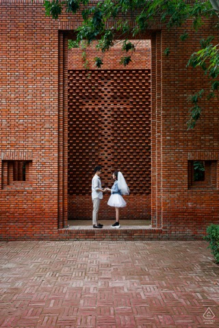 China Red brick art gallery Love during an engagement portrait shoot