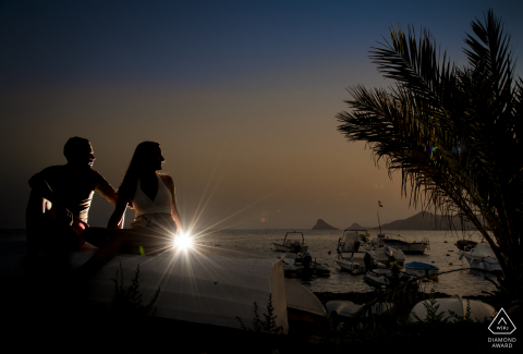 Aguilas Murcia Sunset at the beach pre-wed image session with palm trees