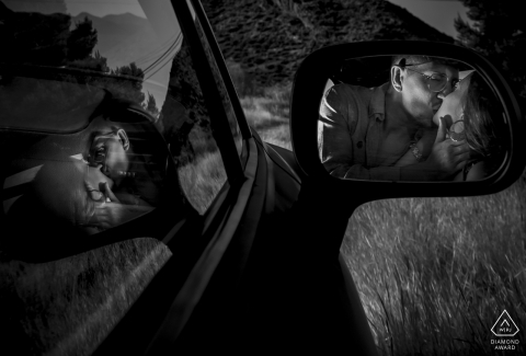 Aguilas Murcia Love and Car pre-wed engagement photo with a mirror in b&w