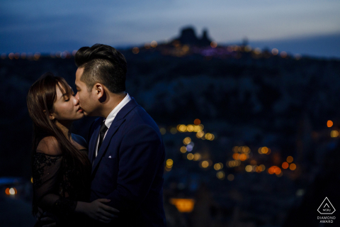 Cappadocia, Turkey engagement photo session over the city at dusk with a light