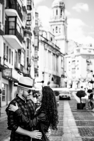 Jaén black and white Pre-Wedding street photo session