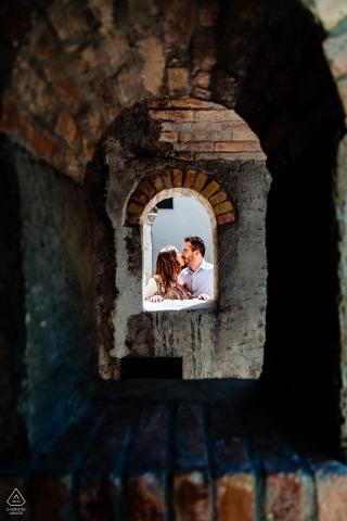 Grado, Italy Arches framing in creative pre-wedding photo