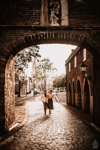 Delft Netherlands Sunset engagement pre-wed photo session on the streets