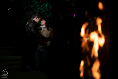 Jaén, Spain pre-wed photography session with fire and flames