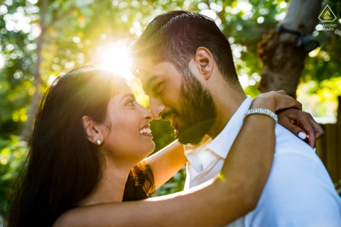 The Farm Al Barari, Dubai Couple with sun as backlight for their pre-wed photography session