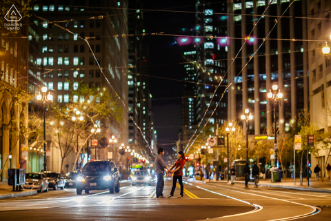 San Francisco city's night view is romantic and mesmerizing during this pre-wed portrait photo shoot