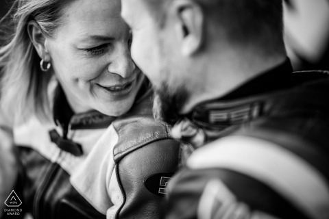 Brno Black and white closeup pre-wed shoot in biker leathers