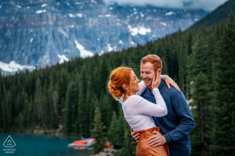 Engagement portraits at Moraine Lake, Banff National Park, AB, Canada with a Couple in love