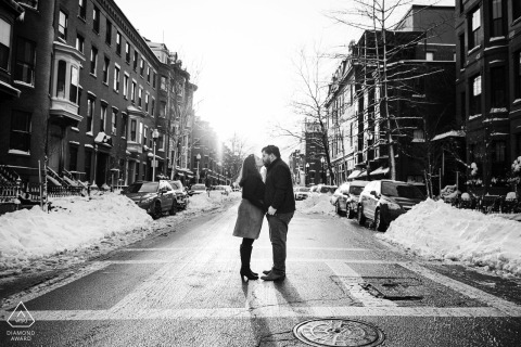 South End, Boston, Massachusetts mini urban pic shoot before the wedding day of a couple in a neighborhood
