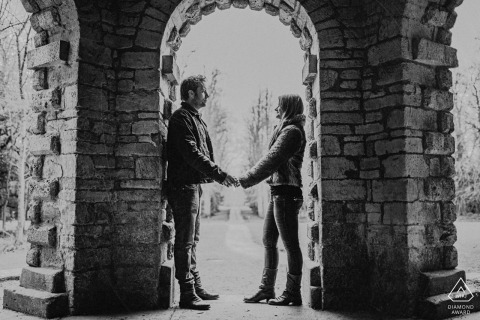 Cirencester Park mini urban pic shoot before the wedding day under a black and white brick arch