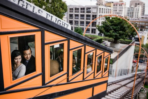 Downtown Los Angeles, California Angels Flight engagement image created before the wedding day