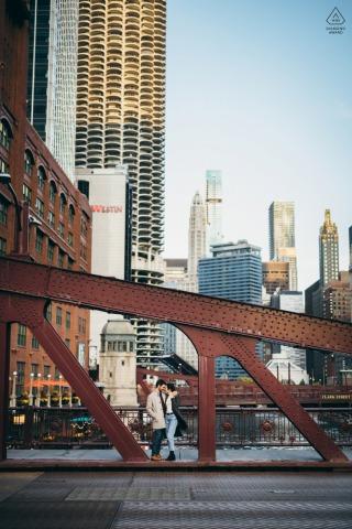 LaSalle Street Bridge mini urban pic shoot before the wedding day with some Cuddling on the city bridge
