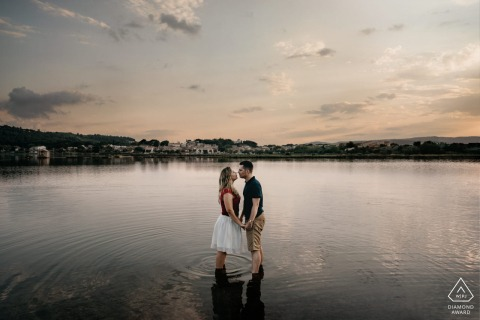 Occitanie pre wedding photo at sunset by the water