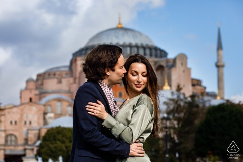 hagia sophia, istanbul, turkey mini urban pic shoot before the wedding day with center framing and the city buildings behind