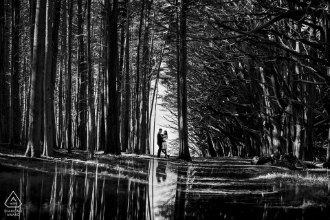 Moss Beach forest couple portrait