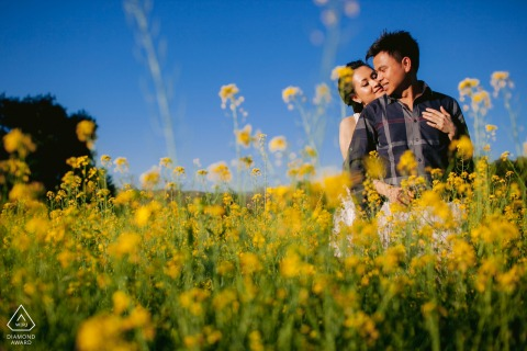 San Jose, California couple portraits in a field of March spring mustard