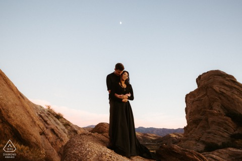 Vasquez Rocks, California pre wed portrait amongst the rocks, the moon, the landscape and the couple