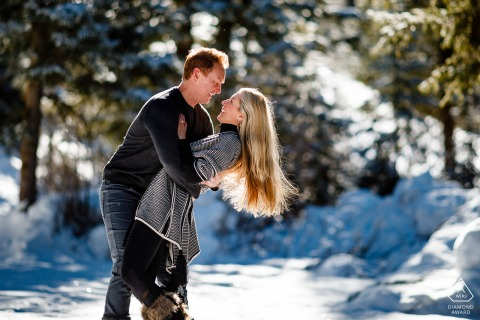 Telluride snowy mountain couple portrait during this winter engagement session