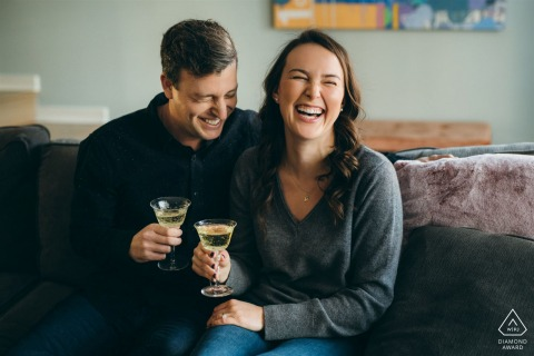 Chicago couple shoot at home having drinks