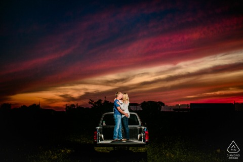 Peoria couple portrait tailgating at sunset