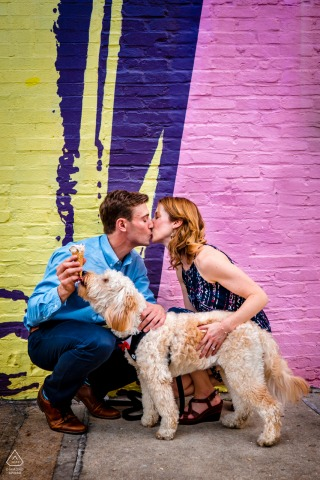 BMORE LICKS, Baltimore, MD urban pic shoot before the wedding day for an Engagement portrait with a dog and ice cream