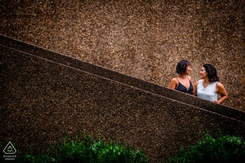 Meridian Hill Park, DC pre wedding couple photo session on the stairs