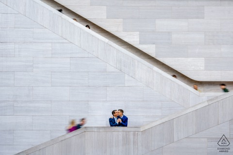 National Gallery of Art, East Building, DC urban pic shoot before the wedding day for a minimalist stairs portrait