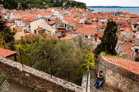Piran, Slovenija urban pic shoot before the wedding day and the couple In love with the view of the town