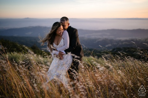 San Jose couple pre-wed portrait out in the open fields