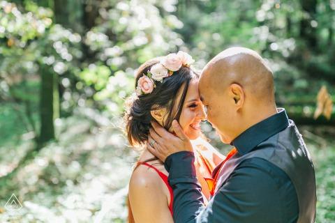 Santa Cruz pre - wed image of a couple in the woods