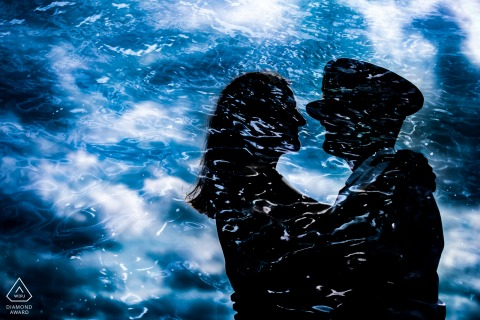 Albany, NY engagement pic session showing a blue watery double exposure of the couple