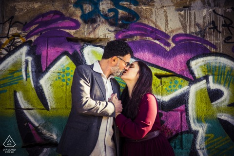 Ceparana Bolano couple engagement pic session Underground against the wall art graffiti