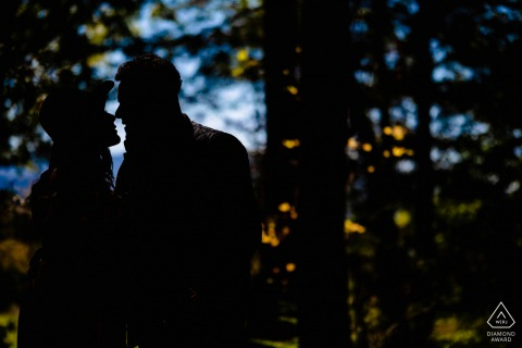 Tennessee engaged picture session at Cades Cove in the Great Smoky Mountains National Park with a Silhouette of the couple in a wooded area of the park