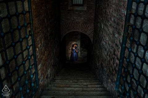 Sultanahmet pre - wed image in the dark stones of Istanbul