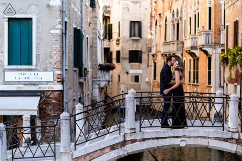 Venice couple pre-wed portrait created while Over the bridge