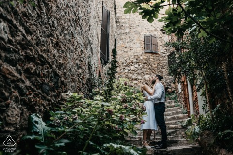 Castelnou Engagement couple session in small French medieval village