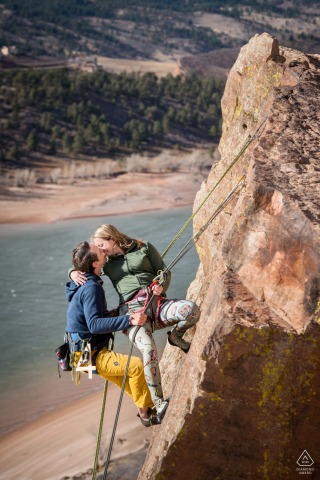 Fort Collins pre-wed portraits with a Rock-climbing couple enjoying the sport they love