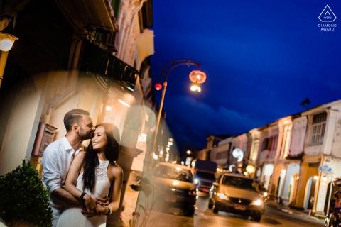 Phuket, Thailand Fine Art Pre Wedding Portrait during Dusk hours at night