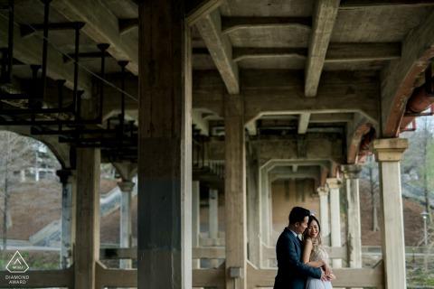 Houston, TX Fine Art Engagement Session under the urban, concrete bridge