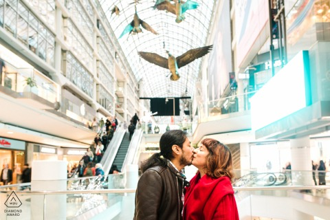Eaton's Centre, Toronto Pre Wedding Photoshoot in a Fine Art Style for This couple at the mall for their Ontario engagement session