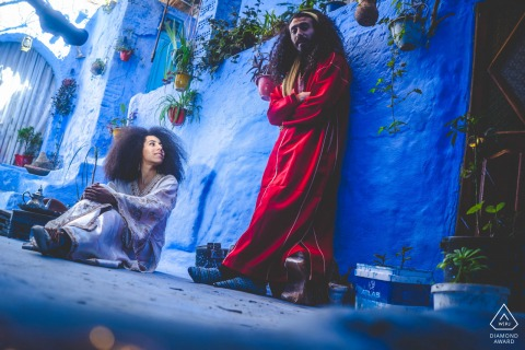 Chefchaouen Fine Art Engagement Image in Marocco