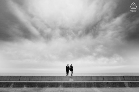 Adler Planetarium, Chicago Fine Art Engagement Session for a Couple on embankment overlooking Lake Michigan