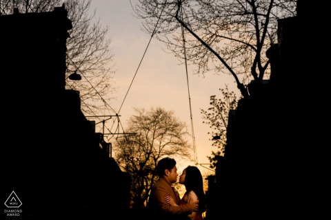 Istanbul Artful Engagement Picture at sunset under the trees