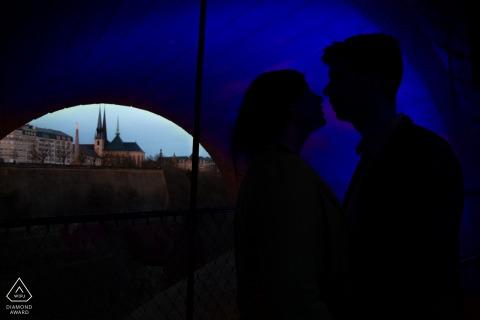 Luxembourg Fine Art Pre Wedding Portrait with A kiss under the bridge
