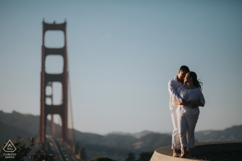 Overlook Point Fine Art Pre Wedding Portrait in San Francisco overlooking the Golden Gate Bridge