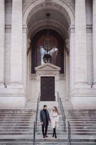 NYPL, NYC Fine Art Engagement Session with the couple Walking down the steps together