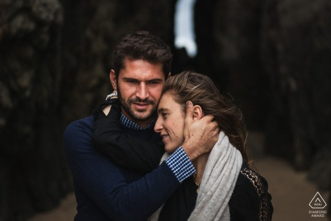 Saint Cast, France Pre Wedding Photoshoot w Fine Art Style and the couple holding each other