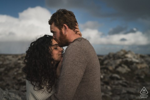 Crozon, France Pre Wedding Photoshoot w Fine Art Style and kissing under the clouds